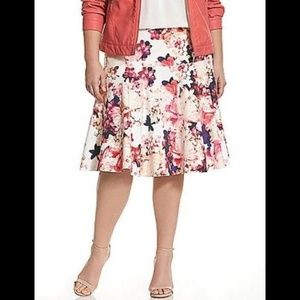 Lane Bryant Floral Skater Skirt 14